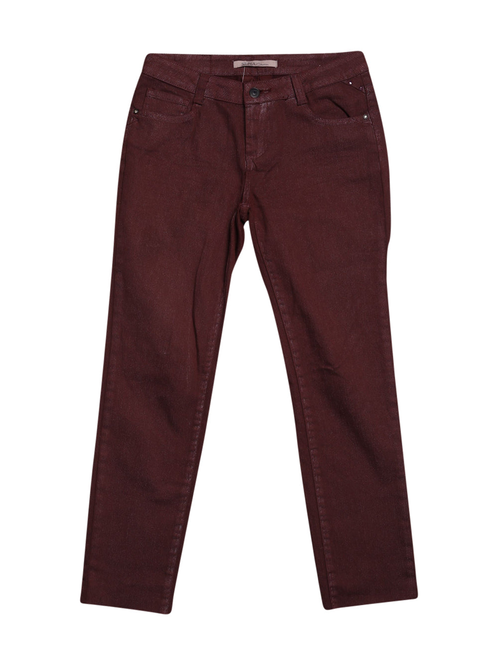 Front photo of Preloved Sepia Bordeaux Woman's trousers - size 4/XXS