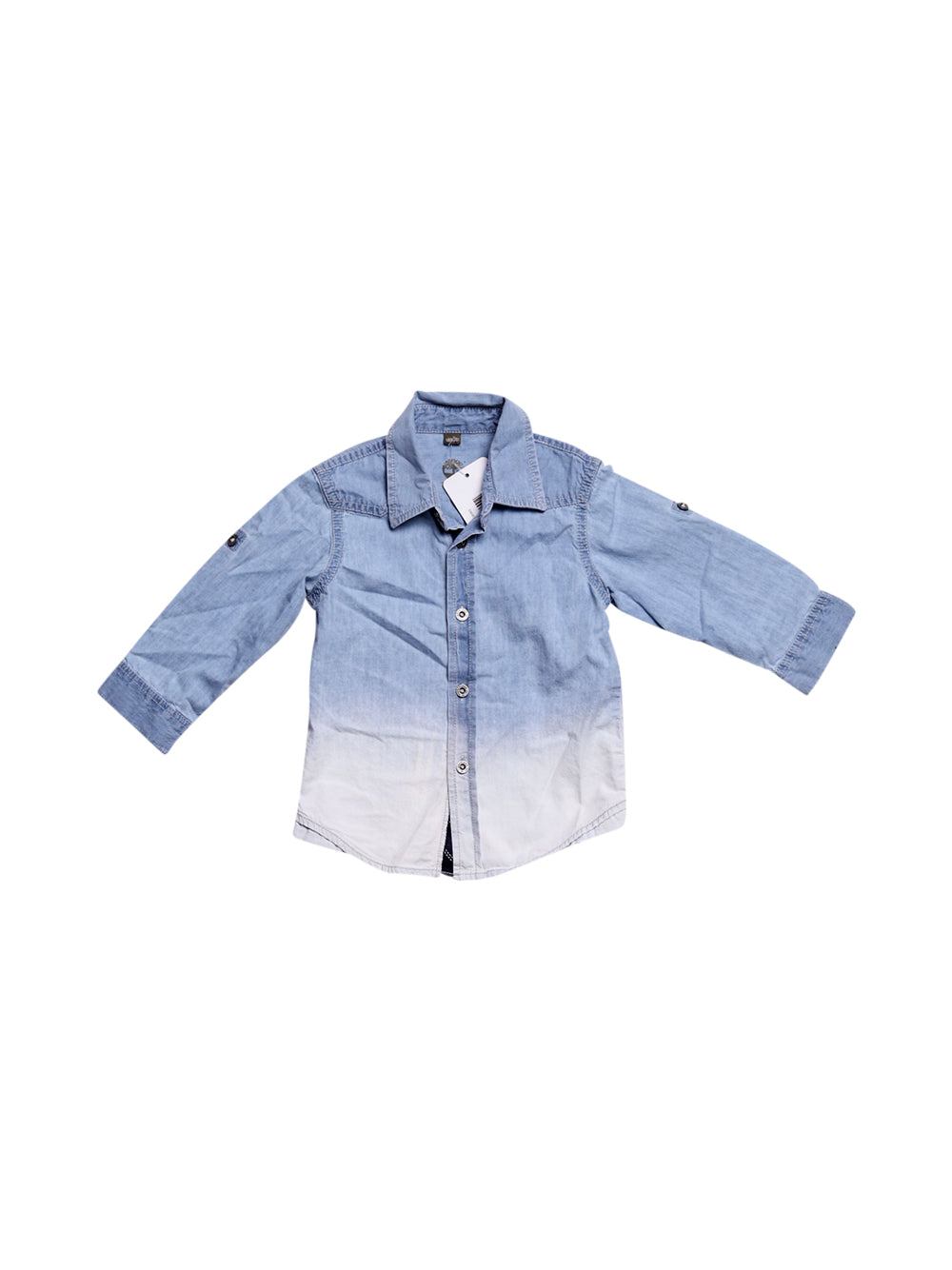 Front photo of Preloved Timberland Blue Boy's shirt - size 12-18 mths