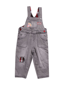Front photo of Preloved Chicco Grey Boy's overalls - size 12-18 mths