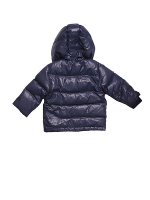 Back photo of Preloved Les Copains Blue Boy's winter coat - size 9-12 mths