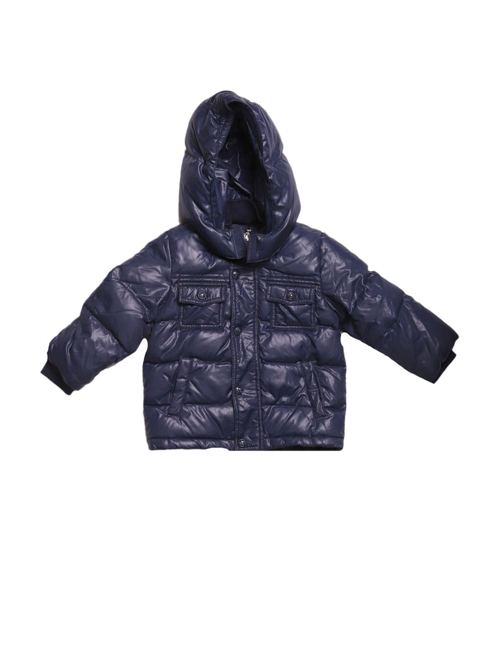 Front photo of Preloved Les Copains Blue Boy's winter coat - size 9-12 mths