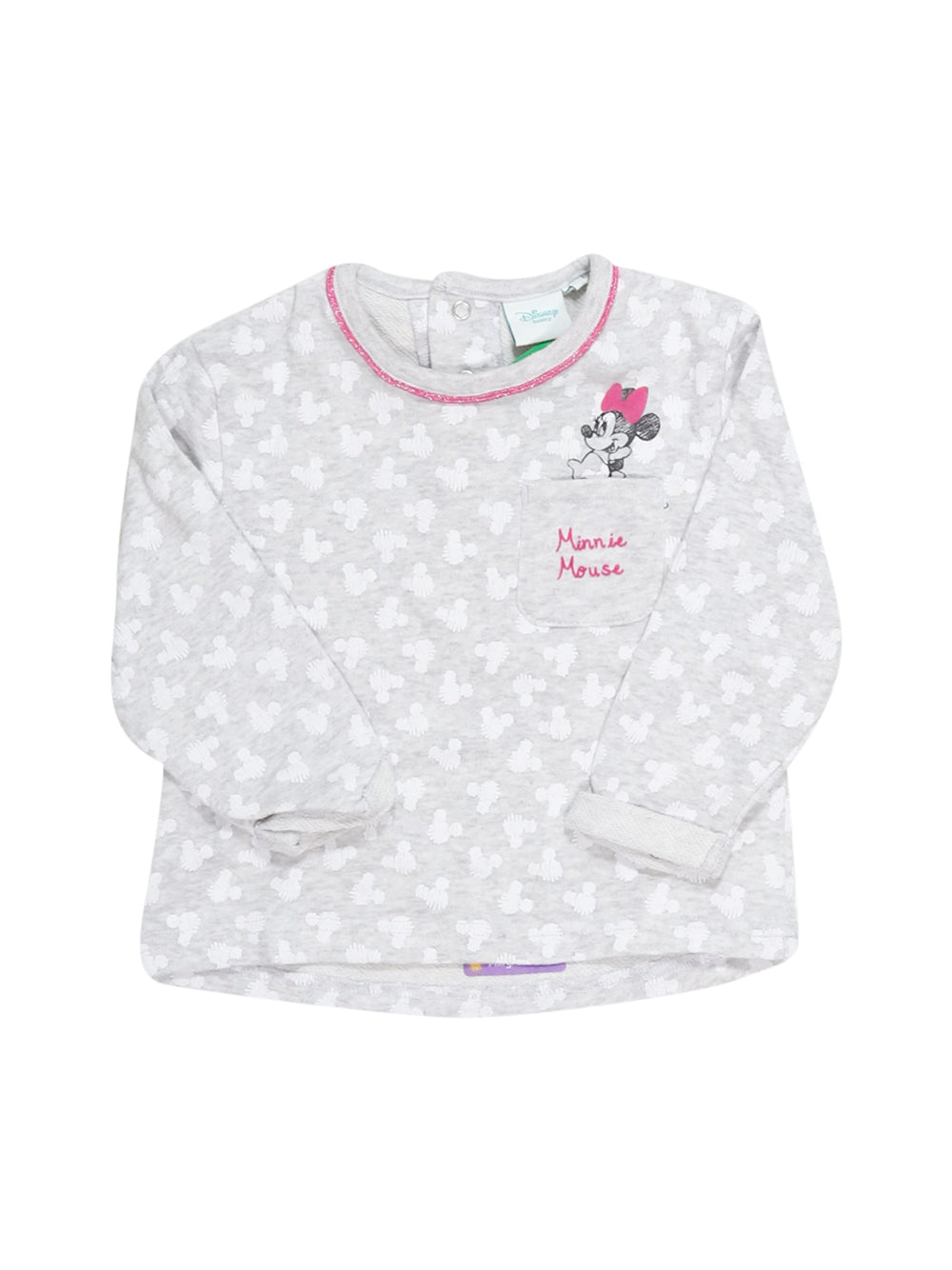 Front photo of Preloved Disney Grey Girl's long sleeved shirt - size 18-24 mths