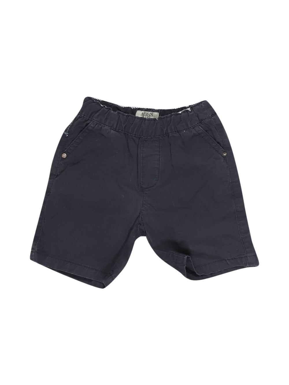 Front photo of Preloved Armani Blue Girl's shorts - size 9-12 mths