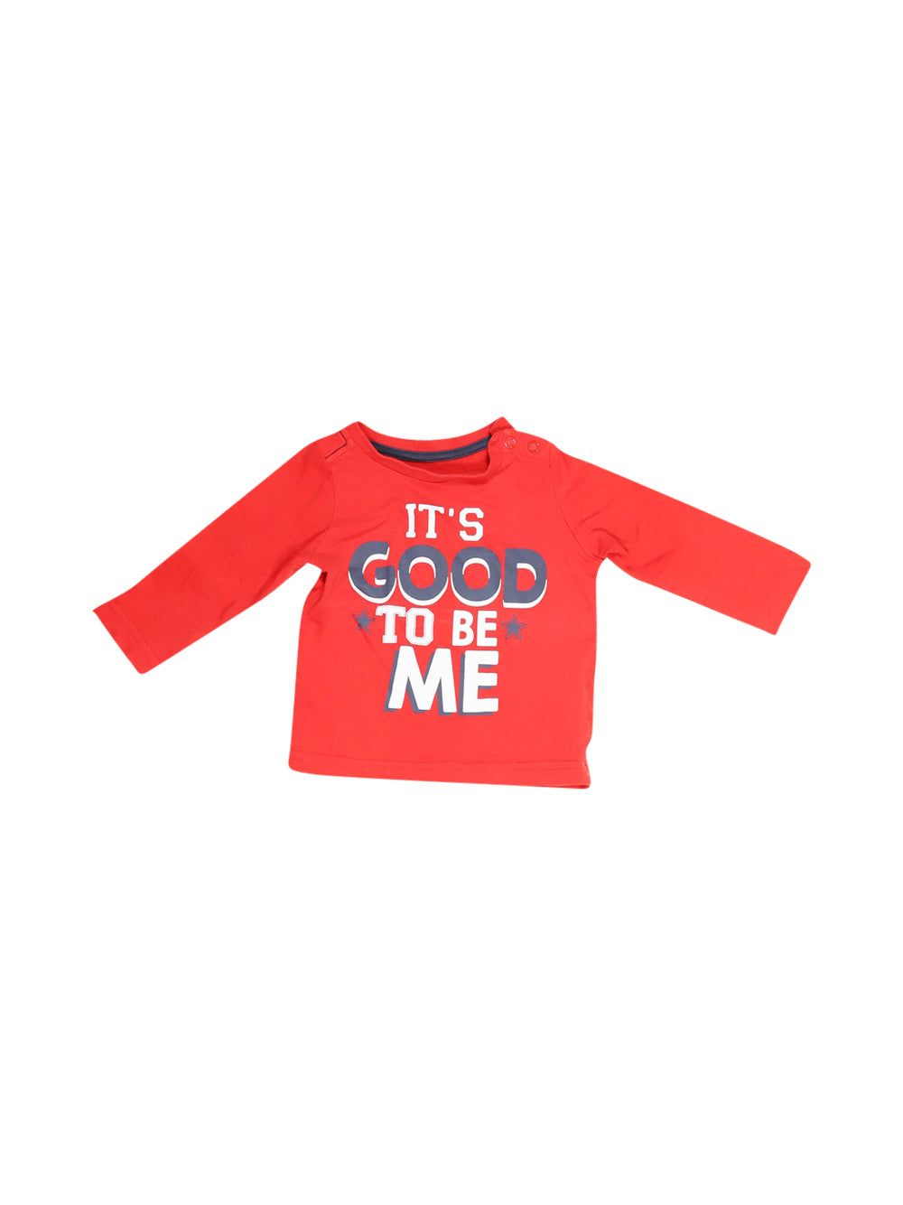 Front photo of Preloved Mothercare Uk Red Boy's long sleeved shirt - size 3-6 mths