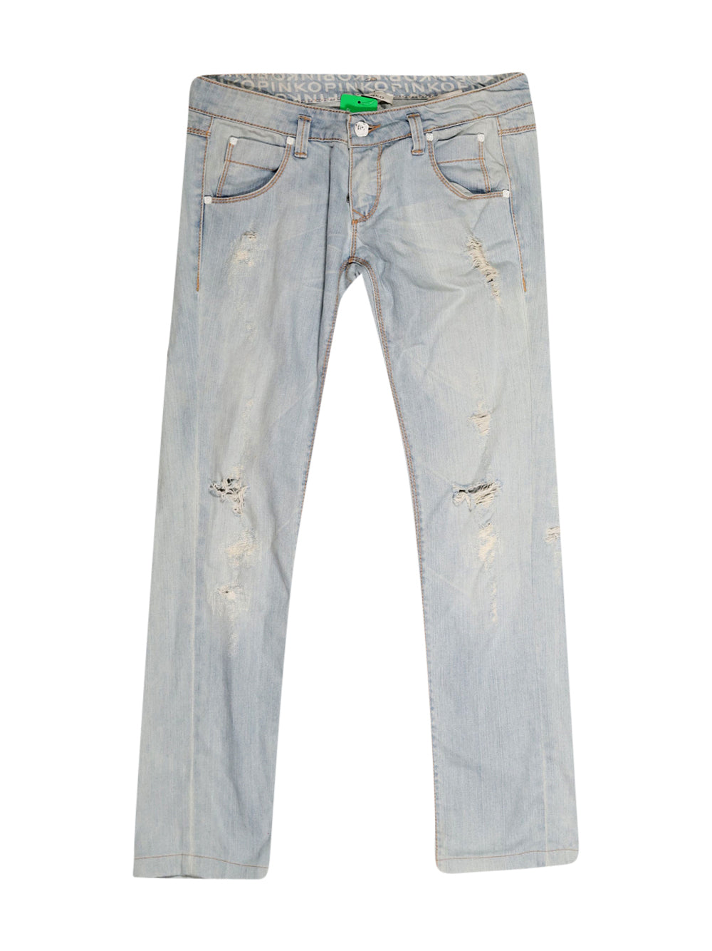 Front photo of Preloved Pinko Light-blue Woman's trousers - size 12/L