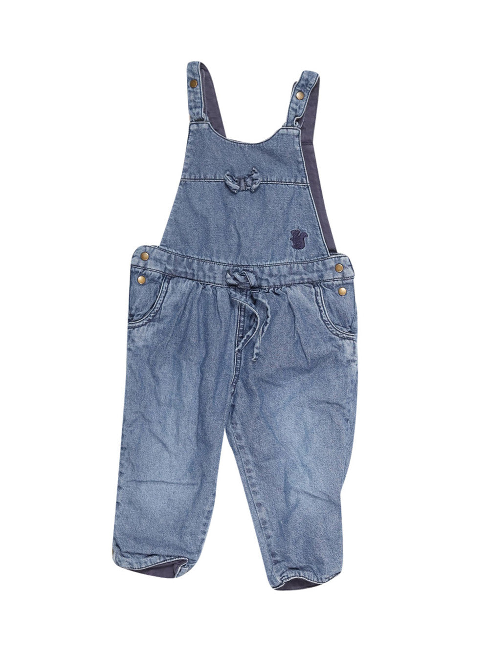 Front photo of Preloved Sigikid Blue Girl's overalls - size 9-12 mths