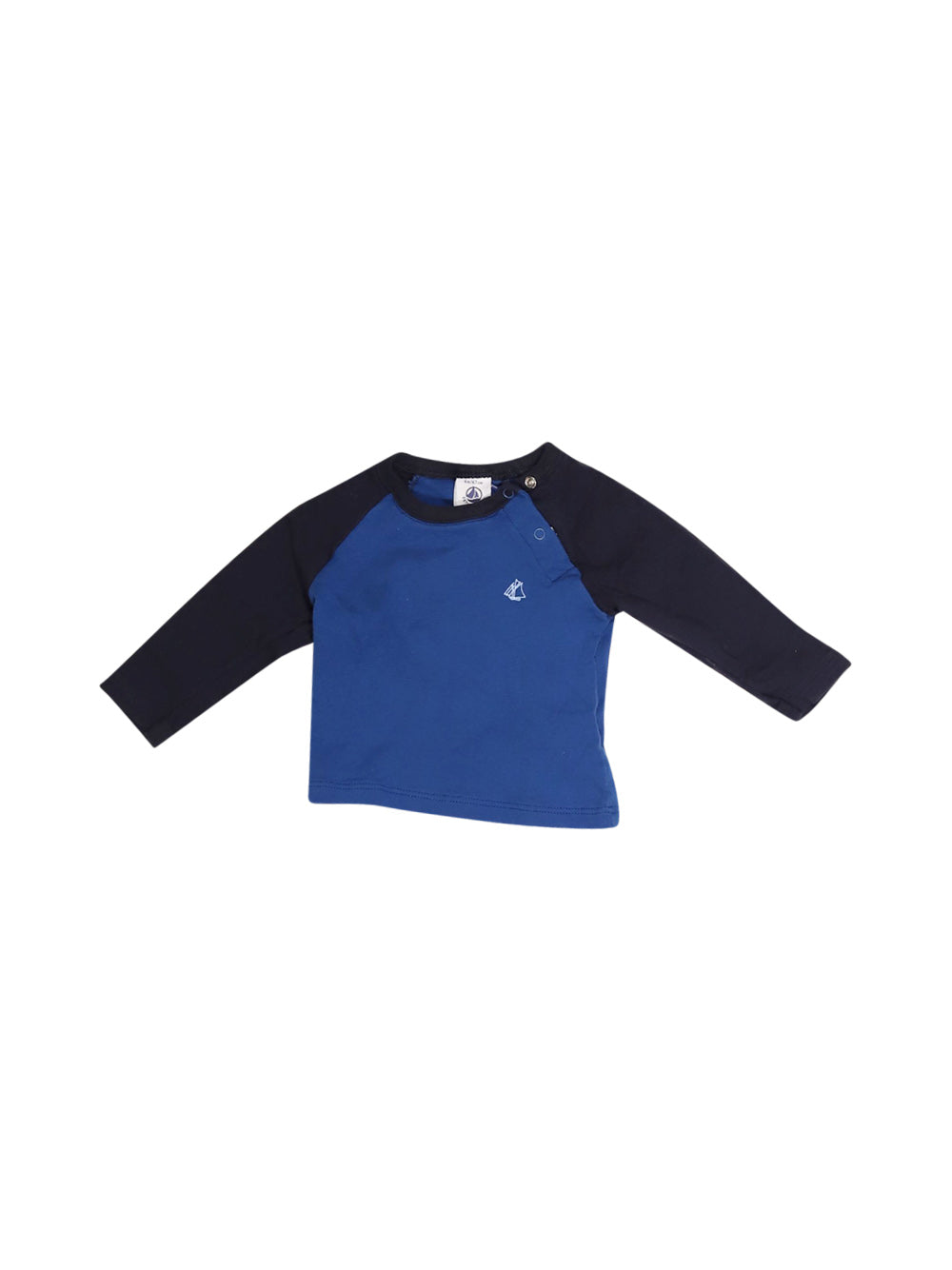 Front photo of Preloved Petit Bateau Blue Boy's long sleeved shirt - size 3-6 mths