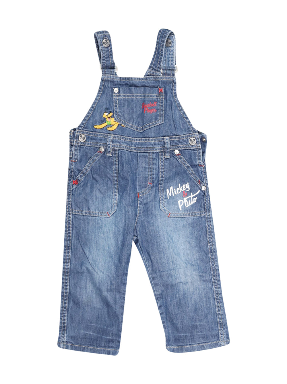 Front photo of Preloved Disney Blue Boy's overalls - size 12-18 mths