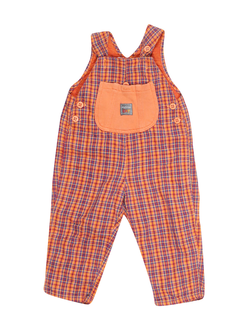 Front photo of Preloved Chicco Orange Boy's overalls - size 12-18 mths