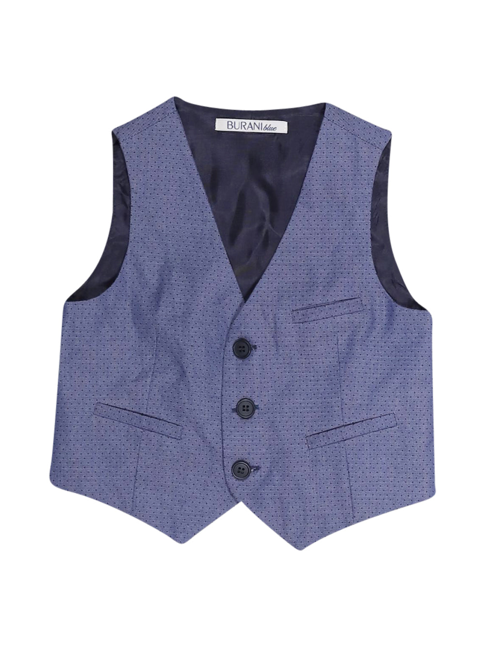 Front photo of Preloved Burani Blue Boy's waistcoat - size 3-4 yrs