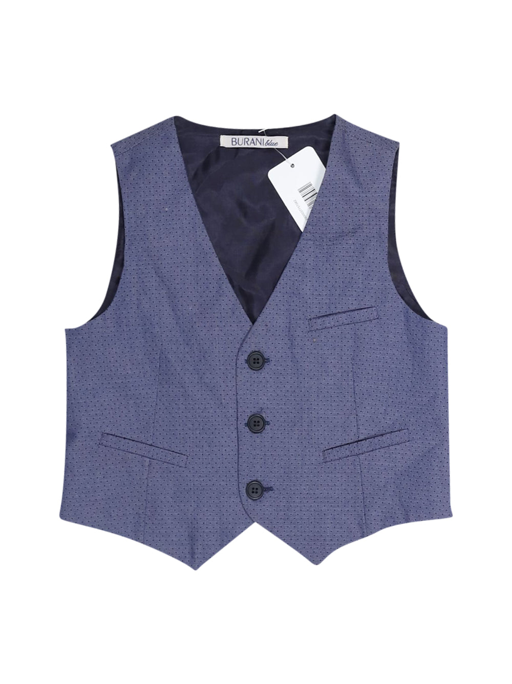 Front photo of Preloved Burani Blue Boy's waistcoat - size 5-6 yrs