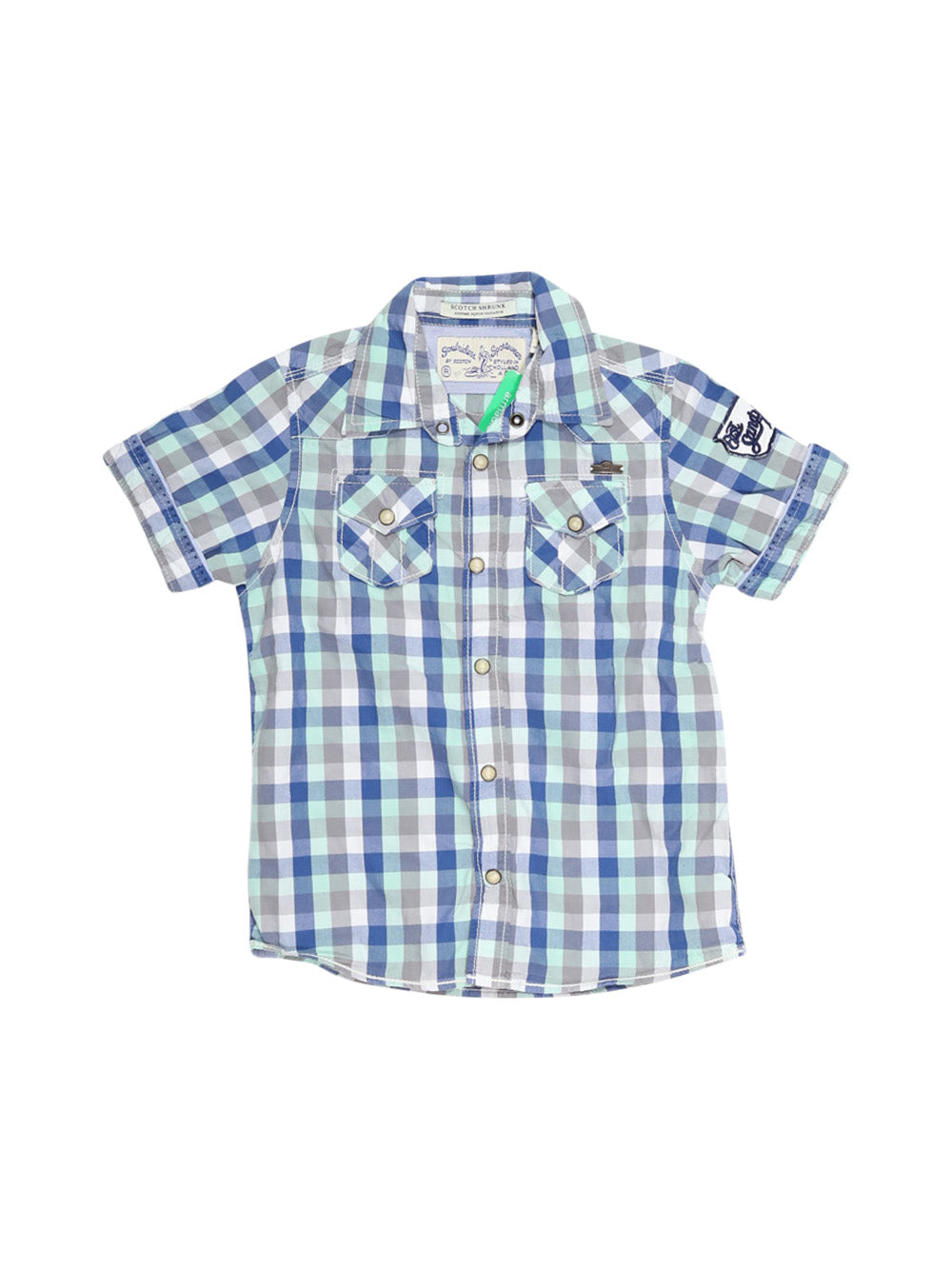 Front photo of Preloved Scotch Shrunk Blue Girl's shirt - size 5-6 yrs