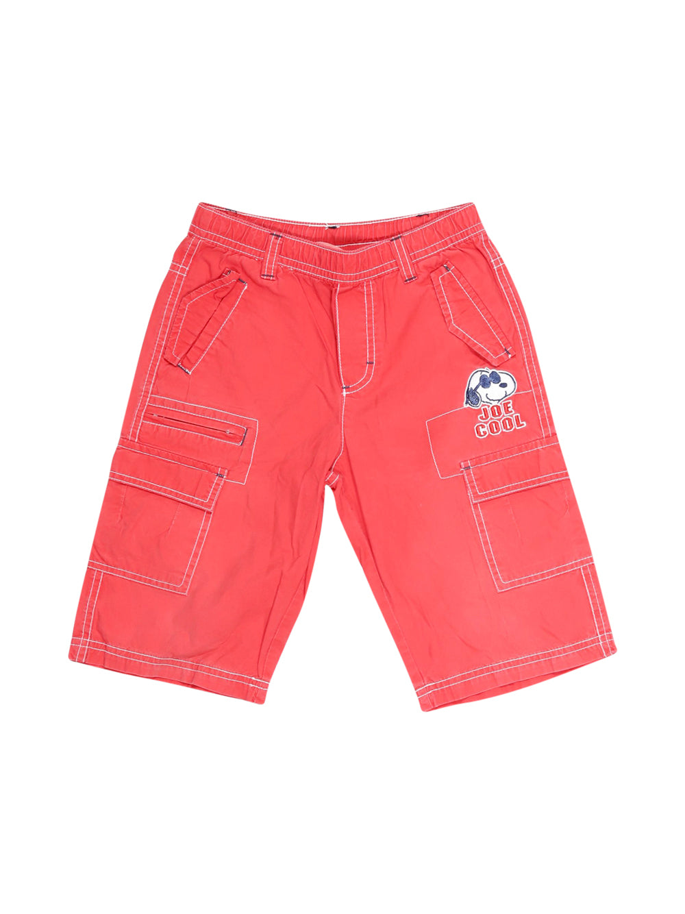 Front photo of Preloved Snoopy Red Boy's shorts - size 4-5 yrs