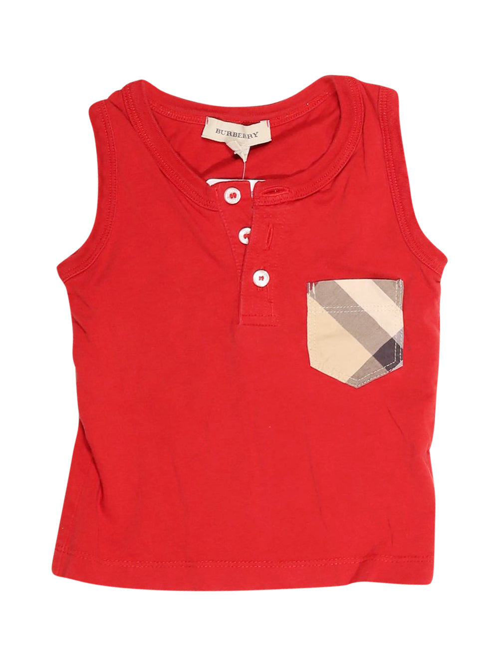 Front photo of Preloved Burberry Red Boy's sleeveless top - size 12-18 mths