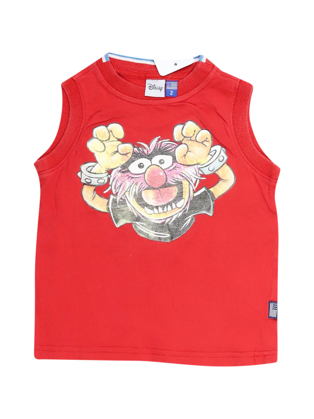 Front photo of Preloved Disney Red Boy's sleeveless top - size 18-24 mths