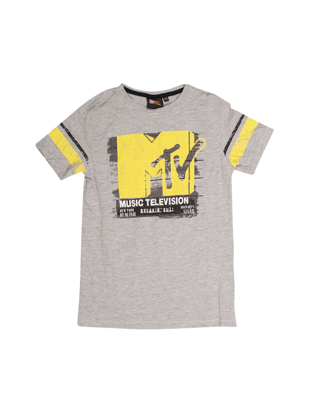 Front photo of Preloved MTV Grey Boy's t-shirt - size 10-12 yrs