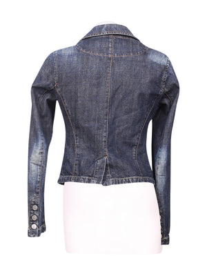 Back photo of Preloved waxy Blue Woman's jacket - size 10/M