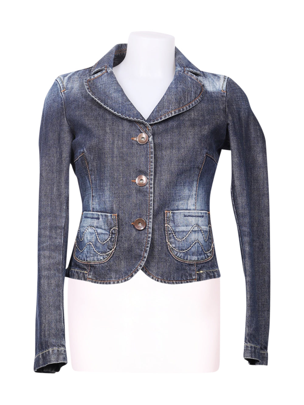 Front photo of Preloved waxy Blue Woman's jacket - size 10/M