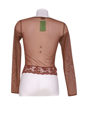 Back photo of Preloved Intimissimi Brown Woman's long sleeved shirt - size 8/S