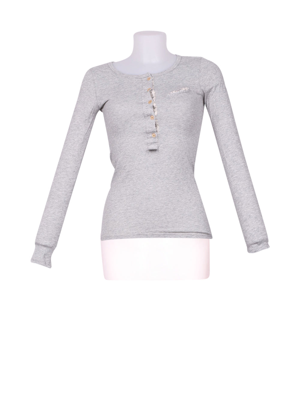 Front photo of Preloved Oysho Grey Woman's long sleeved shirt - size 8/S