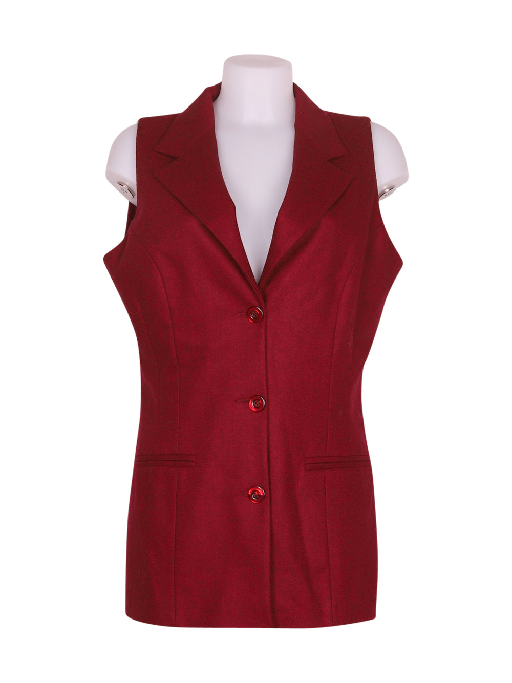 Front photo of Preloved Pura lana Bordeaux Woman's waistcoat - size 16/XXL