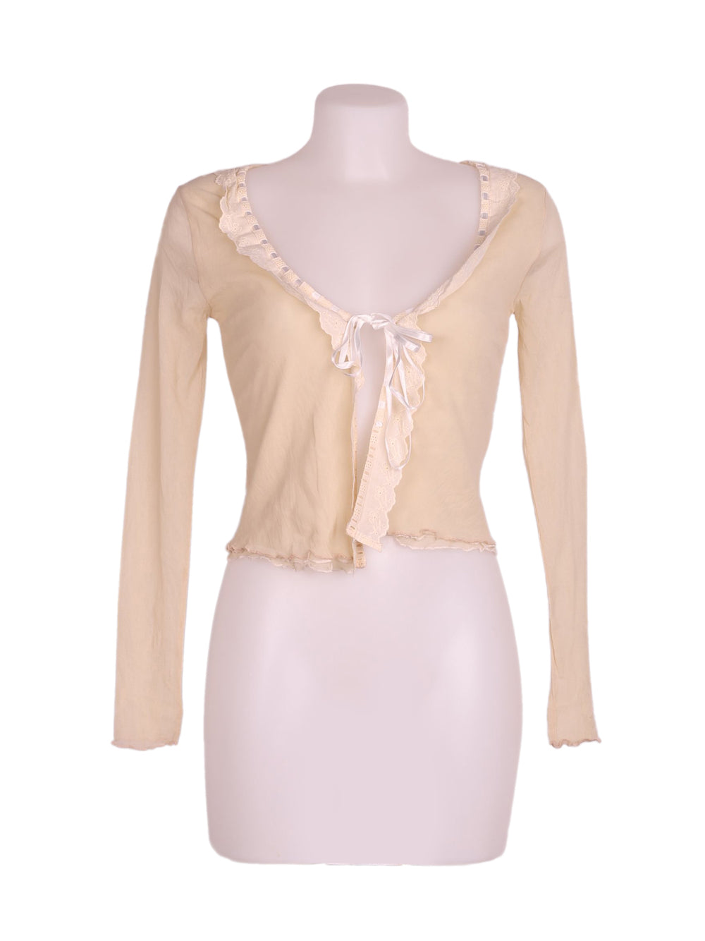 Front photo of Preloved Blue Joint Beige Woman's bolero - size 10/M