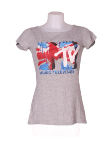 Front photo of Preloved MTV Grey Woman's t-shirt - size 8/S