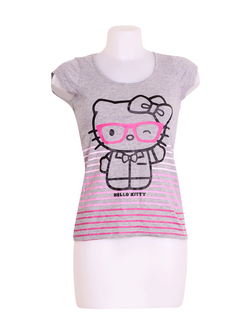 Front photo of Preloved Hello Kitty Grey Woman's t-shirt - size 8/S
