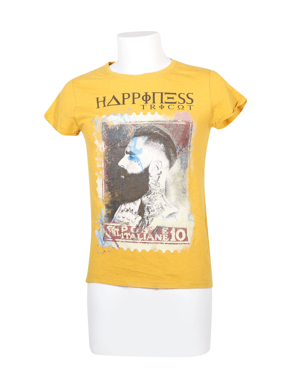 Front photo of Preloved Happiness Yellow Man's t-shirt - size 36/S