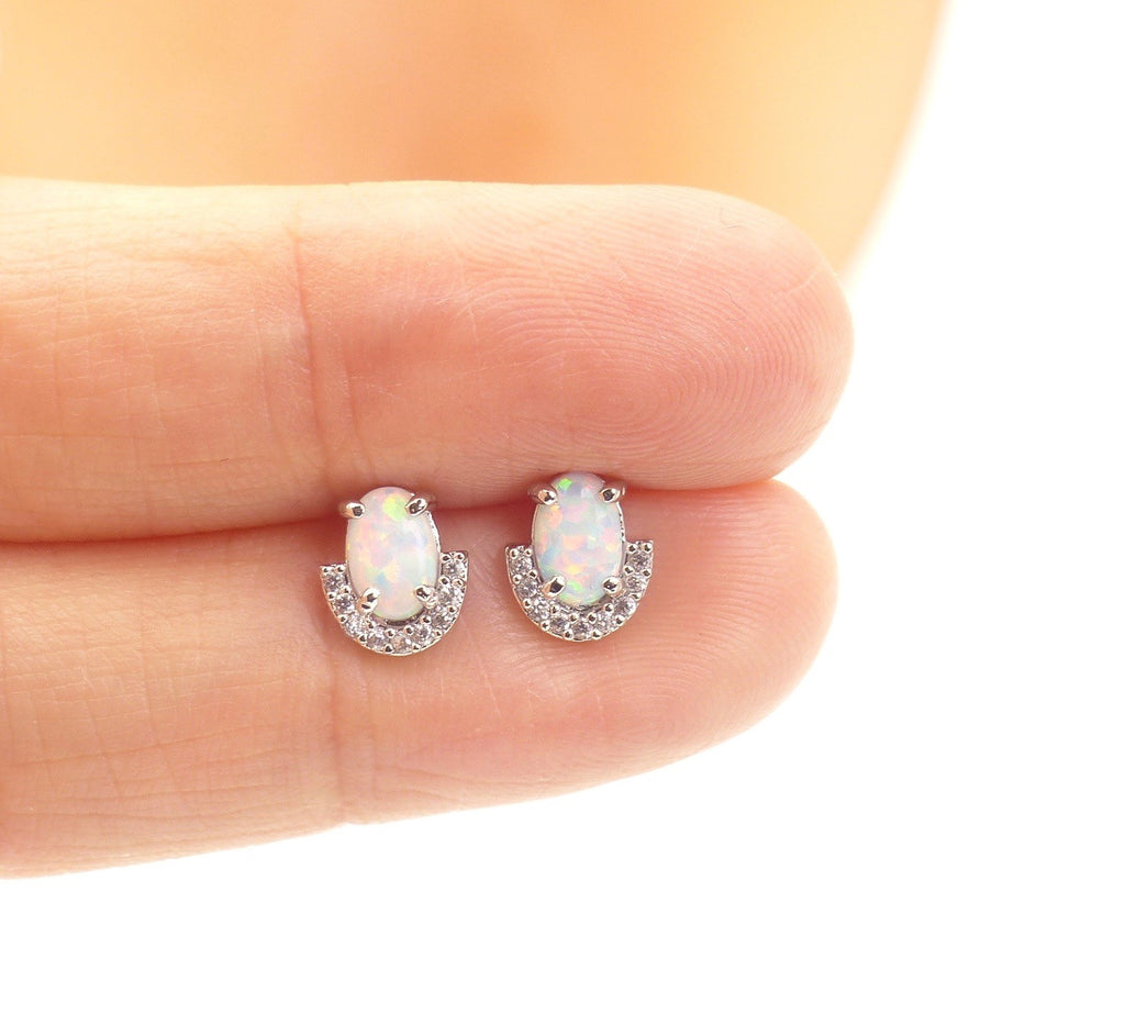 Little moon opal studs
