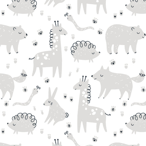 Cute Animals Gray White Removable Peel and Stick Wallpaper