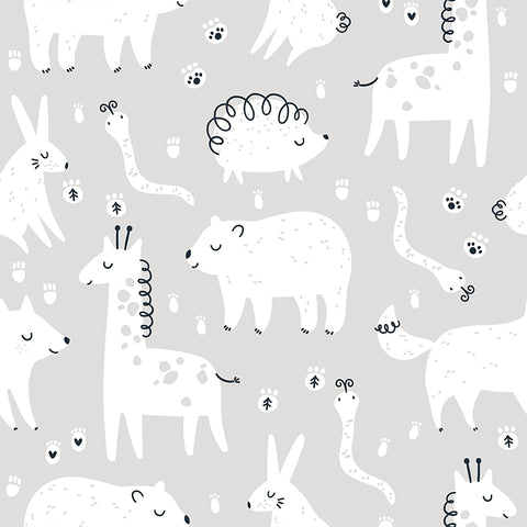 Gray and White Kids Animals Bear Giraffe Rabbit Removable Peel and Stick Wallpaper Pattern