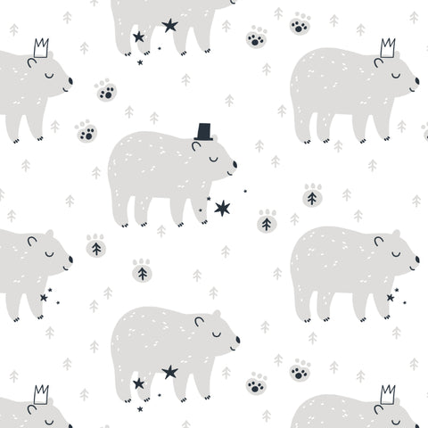Sleepy Cute Bear Removable Peel and Stick Wallpaper