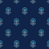 Navy Light Blue Block Flower Peel and Stick Removable Wallpaper Pattern