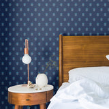 Navy Light Blue Block Flower Peel and Stick Removable Wallpaper