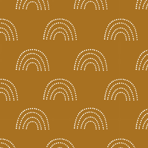 Kids Brown Orange Boho White Rainbow Removable Peel and Stick Wallpaper Pattern