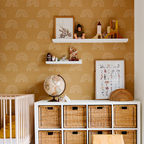 Kids Brown Orange Boho White Rainbow Removable Peel and Stick Wallpaper Sample Size