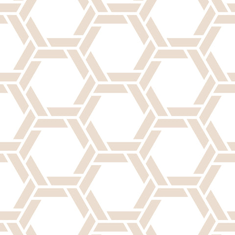White Background Brown Beige Braided Geometric Pattern Elegant Peel and Stick Removable Wallpaper Pattern