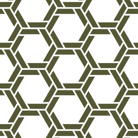 White Background Dark Green Braided Geometric Pattern Elegant Peel and Stick Removable Wallpaper Pattern