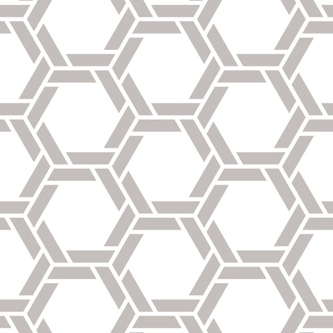 White Background Grey Braided Geometric Pattern Elegant Peel and Stick Removable Wallpaper Pattern