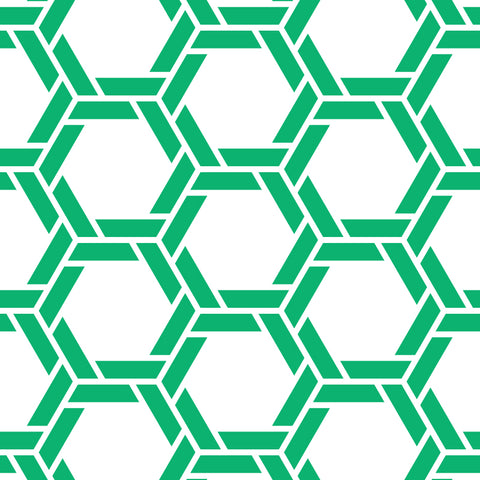 White Background Bright Green Braided Geometric Pattern Elegant Peel and Stick Removable Wallpaper Pattern
