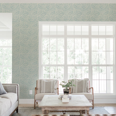 Green leaves branches living room peel and stick removable wallpaper