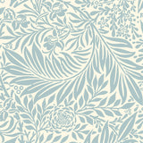 Blue elegant leaves living room peel and stick wallpaper removable Pattern