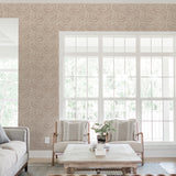 Brown elegant leaves wallpaper living room peel and stick removable