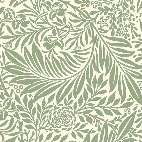 Green leaves branches peel and stick removable wallpaper pattern