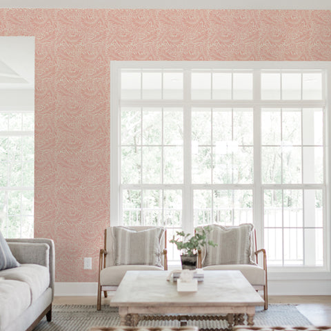 Pink Leaves Branches Living room elegant wallpaper peel and stick removable
