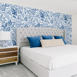 White background navy blue flowers and Leaves bedroom elegant wallpaper peel and stick removable