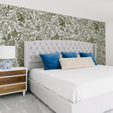 White background dark green flowers and Leaves elegant wallpaper in bedroom peel and stick removable