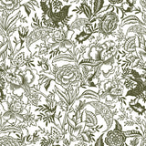 White background dark green flowers and Leaves elegant wallpaper peel and stick removable pattern