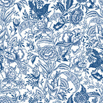 White background navy blue flowers and Leaves elegant wallpaper peel and stick removable pattern